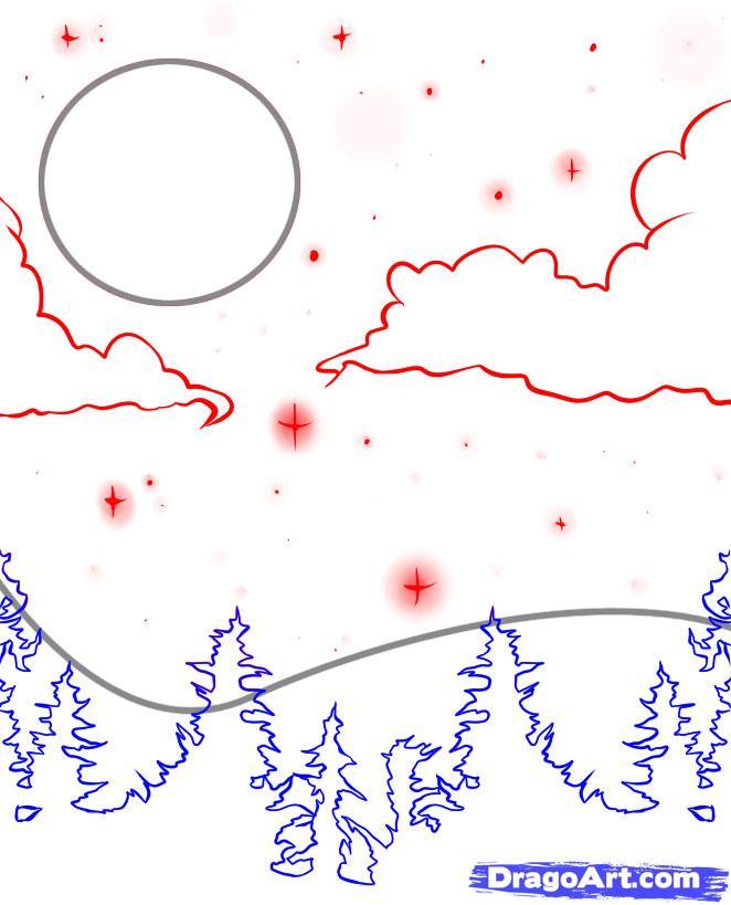 Как нарисовать звездное небо поэтапно карандашом для