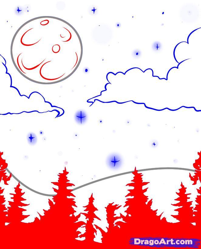 Рисуем луну и звёздное небо