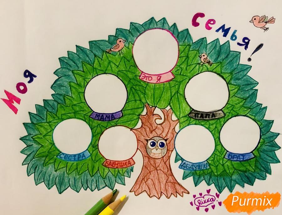 Рисуем семейное генеалогическое древо с птичками для детей - шаг 10