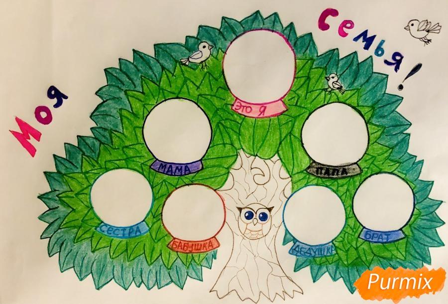 Рисуем семейное генеалогическое древо с птичками для детей - шаг 9