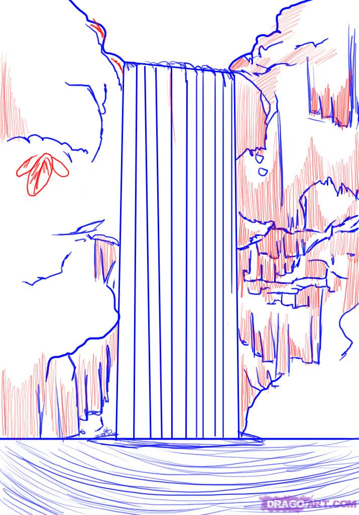 Учимся рисовать водопад поэтапно