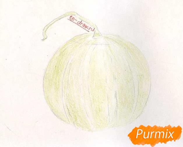Рисуем арбуз цветными - шаг 3