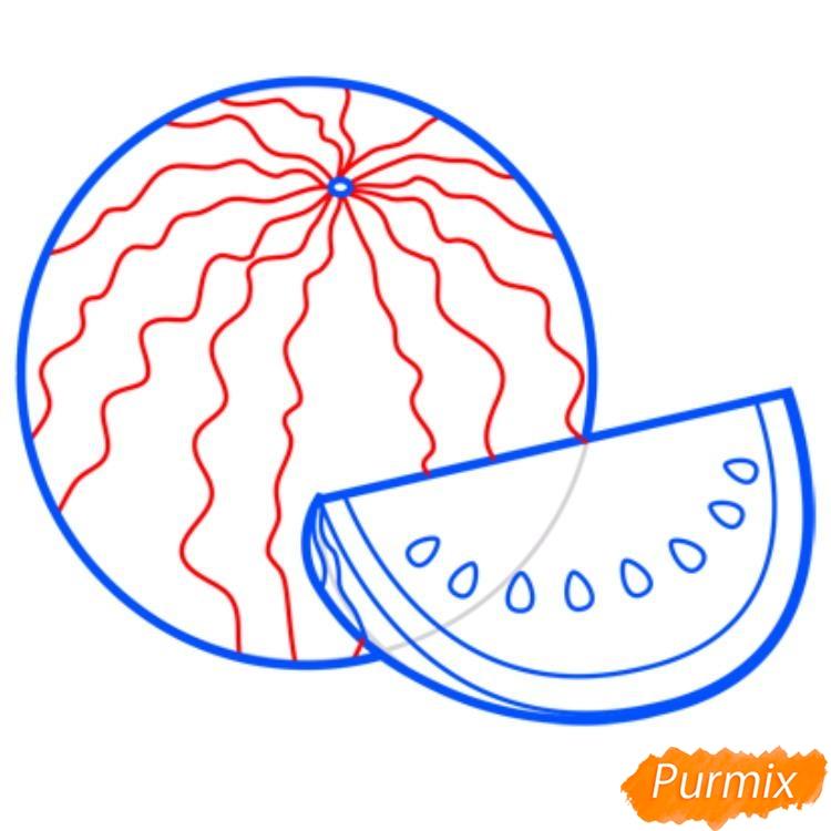 Рисуем арбуз   для начинающих - шаг 7