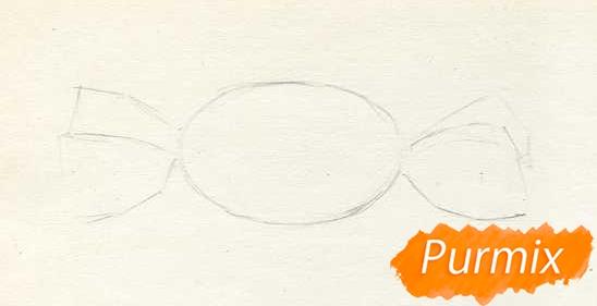 Рисуем карамельку цветными карандашами - шаг 1