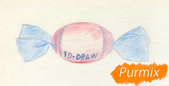 Рисуем карамельку цветными карандашами - шаг 3