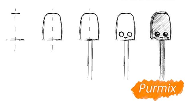Рисуем конфету на палочке - шаг 1