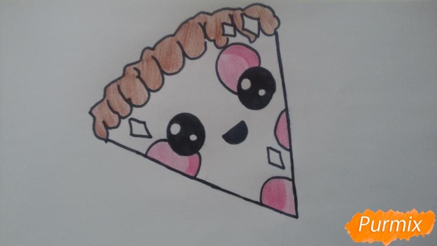 Рисуем кусок пиццы с глазками - фото 8