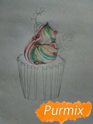 Рисуем маффин карандашами - шаг 6