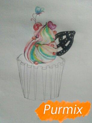 Рисуем маффин карандашами - шаг 7