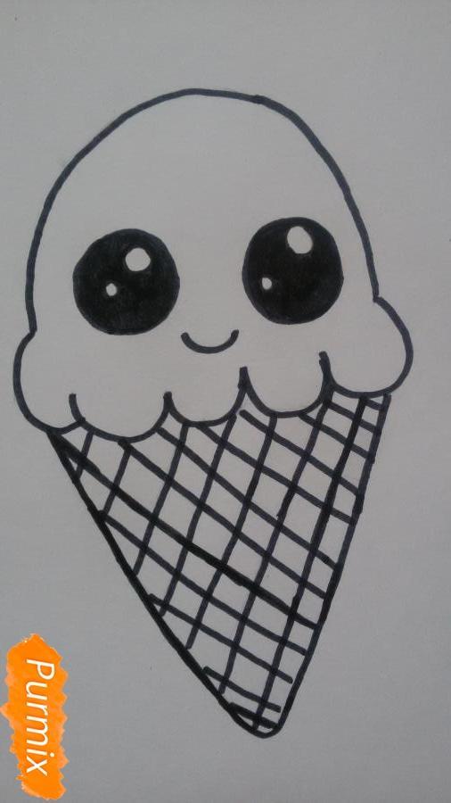 Рисуем милое мороженое с глазками - фото 5