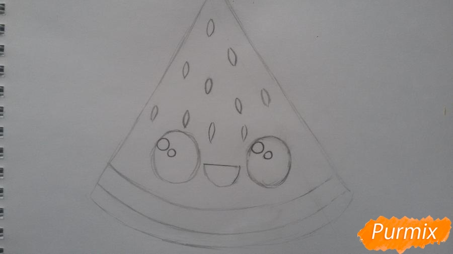 Рисуем милый кусочек арбузика с глазками - фото 4