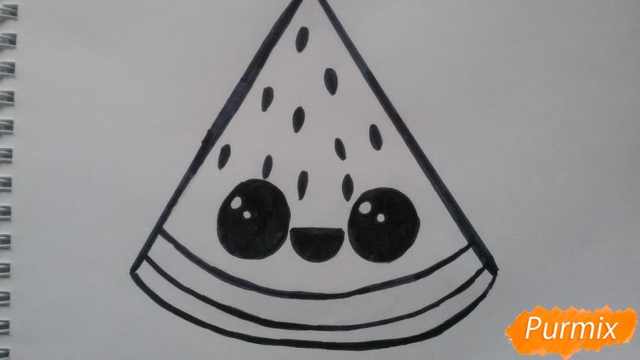 Рисуем милый кусочек арбузика с глазками - фото 5