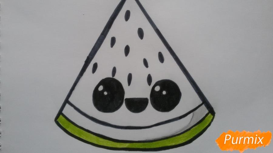 Рисуем милый кусочек арбузика с глазками - фото 6