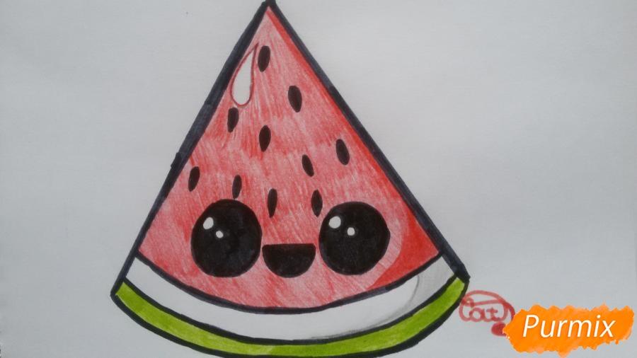 Рисуем милый кусочек арбузика с глазками - фото 7