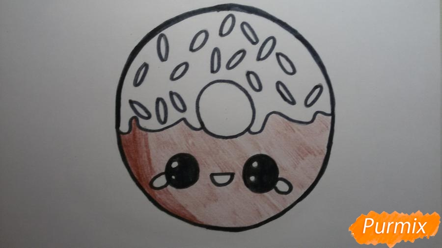 Рисуем милый пончик с глазками - фото 7