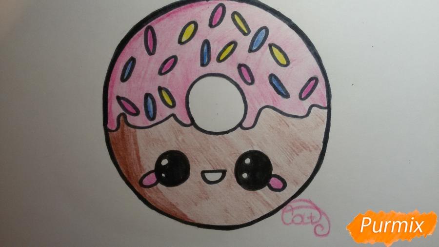 Рисуем милый пончик с глазками - фото 8