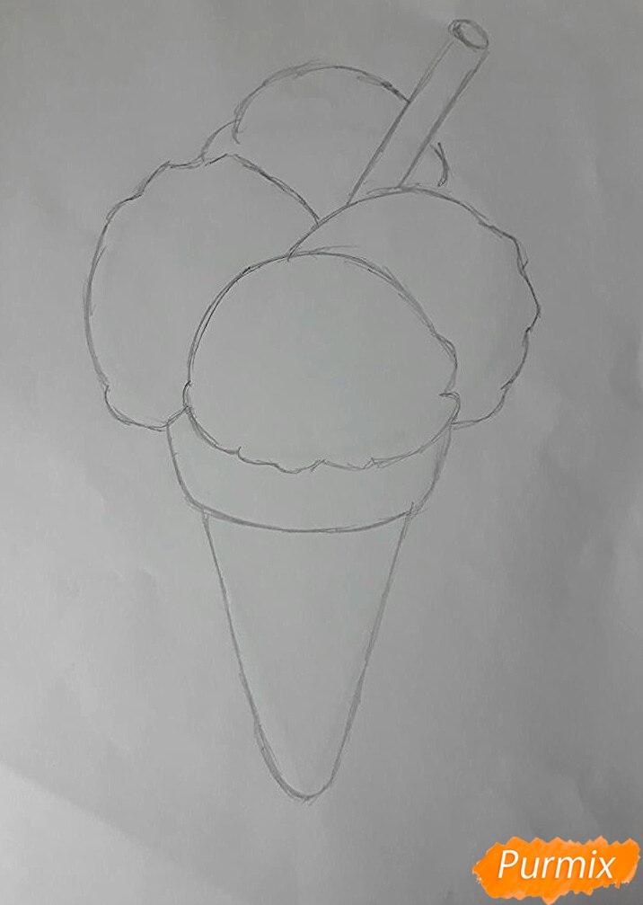 Рисуем мороженое рожок с разноцветными шариками - шаг 2