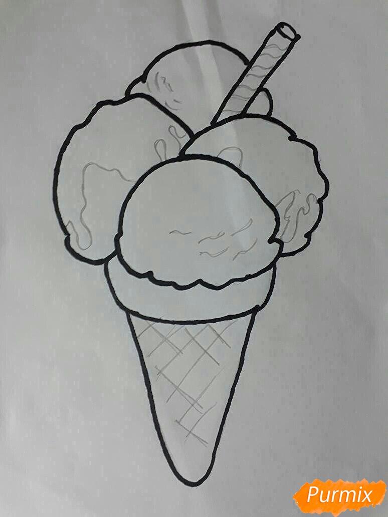 Рисуем мороженое рожок с разноцветными шариками - шаг 4