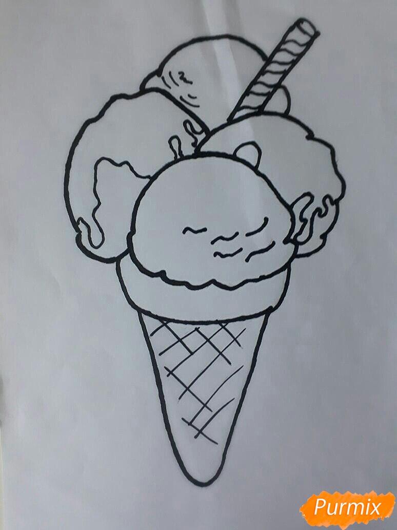 Рисуем мороженое рожок с разноцветными шариками - шаг 5