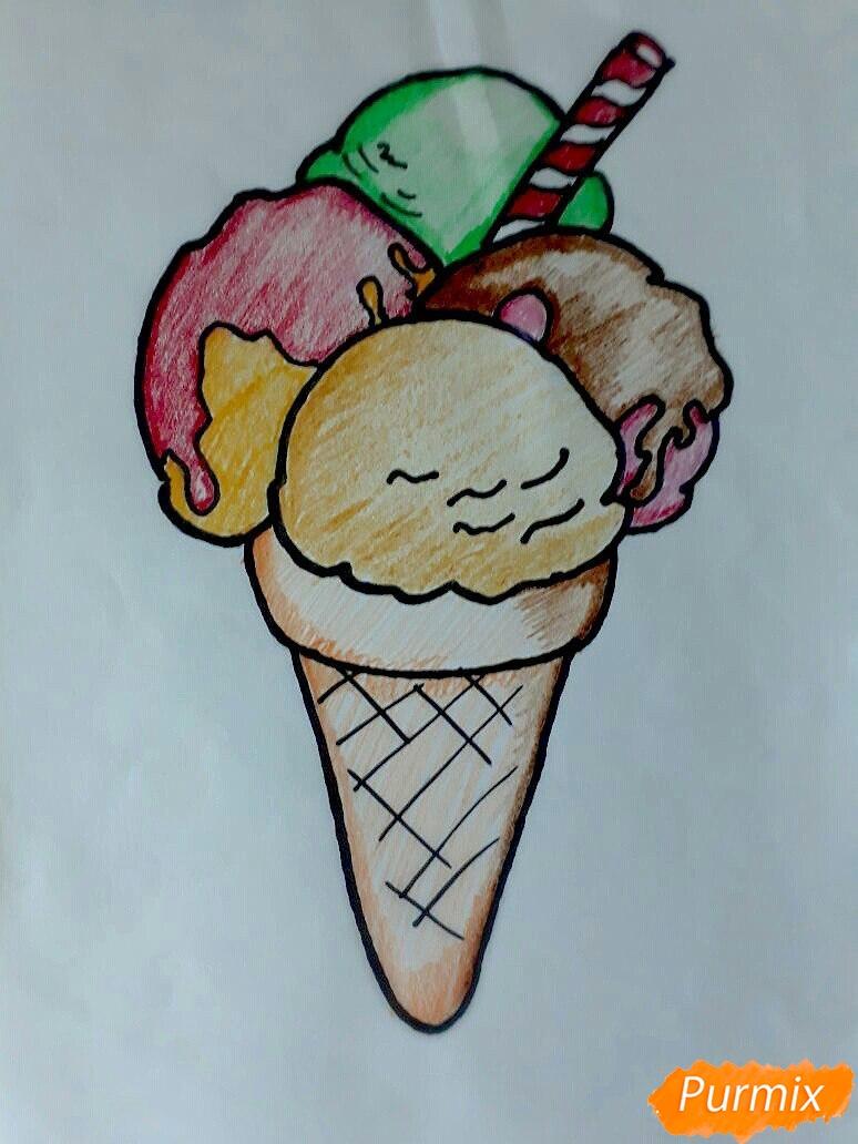 Как нарисовать мороженое рожок с разноцветными шариками поэтапно