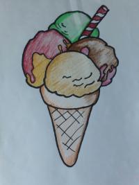 Рисунок мороженое рожок с разноцветными шариками