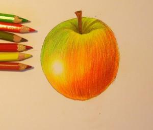 Рисуем яблоко цветными карандашами - шаг 8