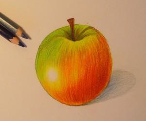 Рисуем яблоко цветными карандашами - шаг 9