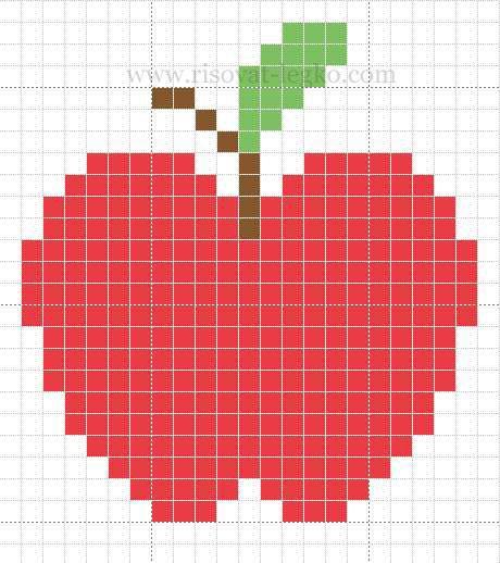 Рисуем яблоко по клеткам - шаг 1