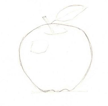 Рисуем яблоко с тенью - шаг 2