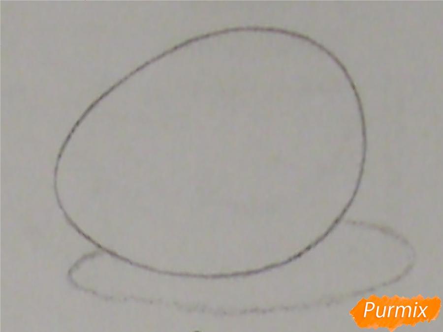 Рисуем куриное яйцо с тенью простыми карандашами - шаг 2