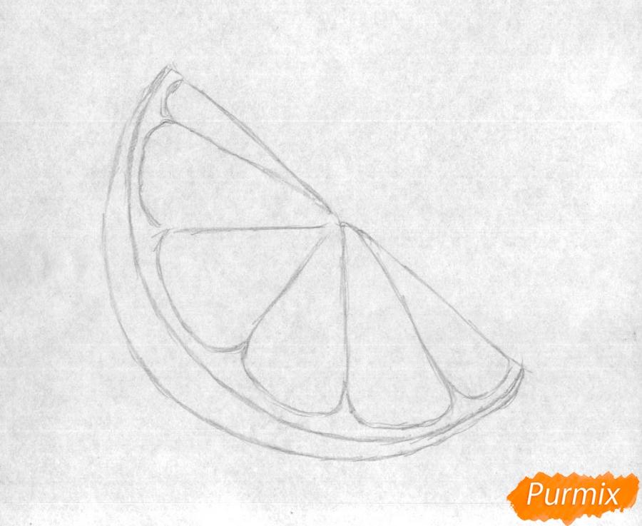 Как нарисовать дольку лайма карандашом поэтапно - шаг 1