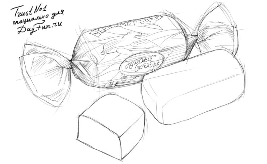 Рисуем конфету на бумаге
