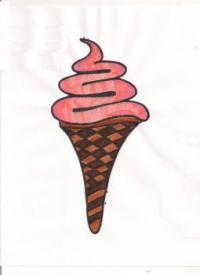 мороженое рожок карандашом