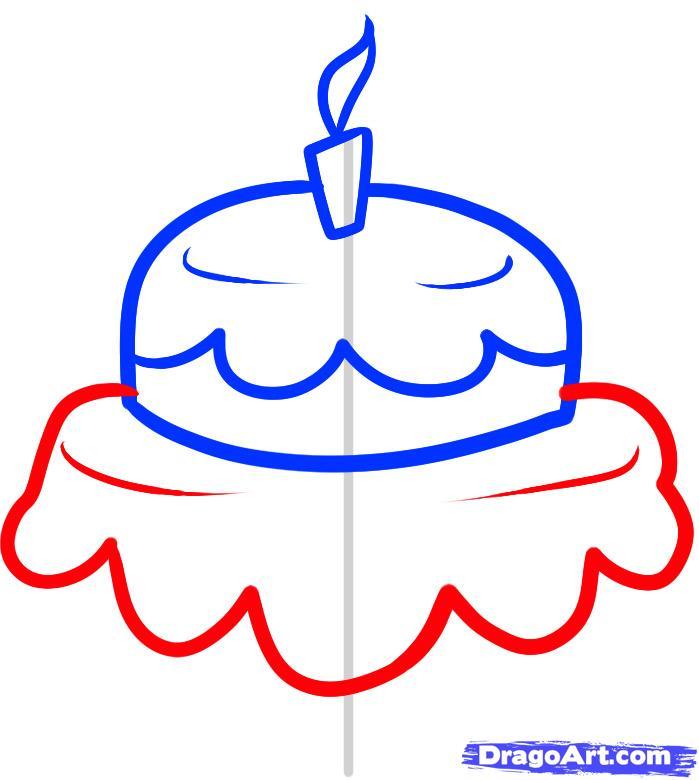 Как нарисовать праздничный торт карандашом поэтапно