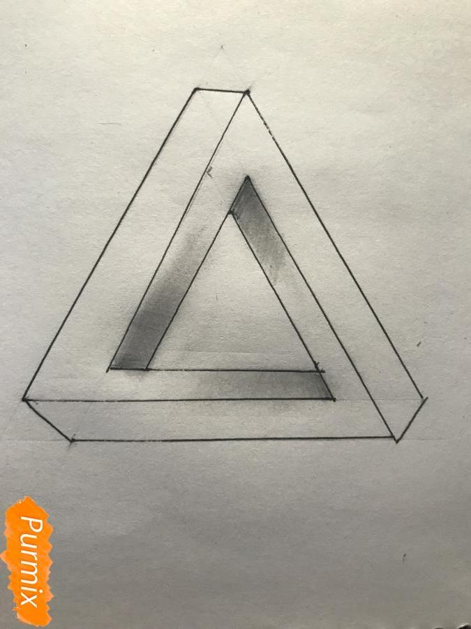 Как нарисовать нереальный треугольник поэтапно