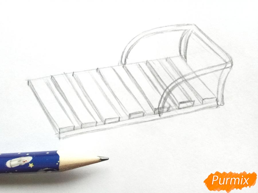 Рисуем санки карандашами - шаг 3