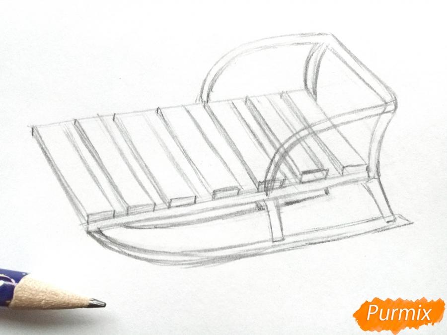 Рисуем санки карандашами - шаг 4