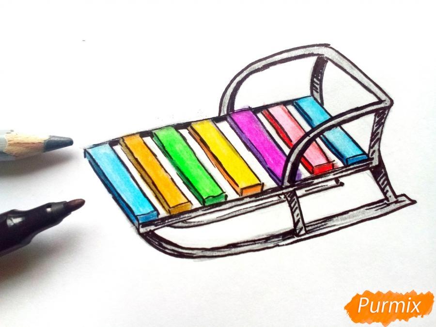 Рисуем санки карандашами - шаг 6