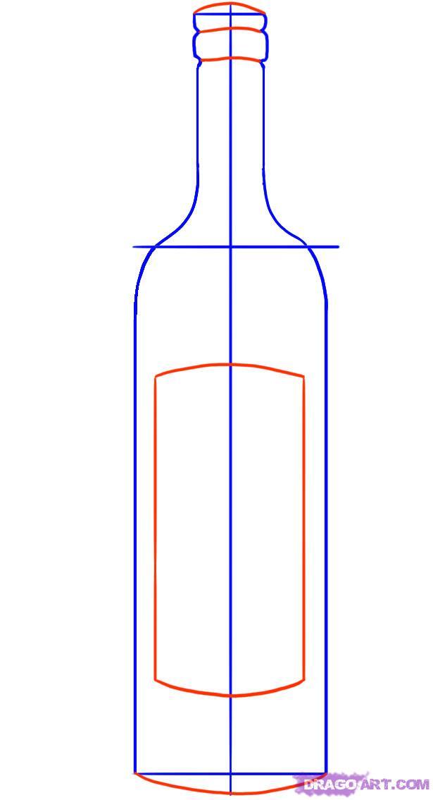 Рисуем бутылку вина