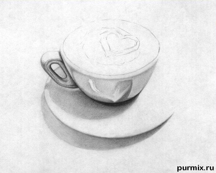 Как нарисовать чашечку капучино простым карандашом поэтапно