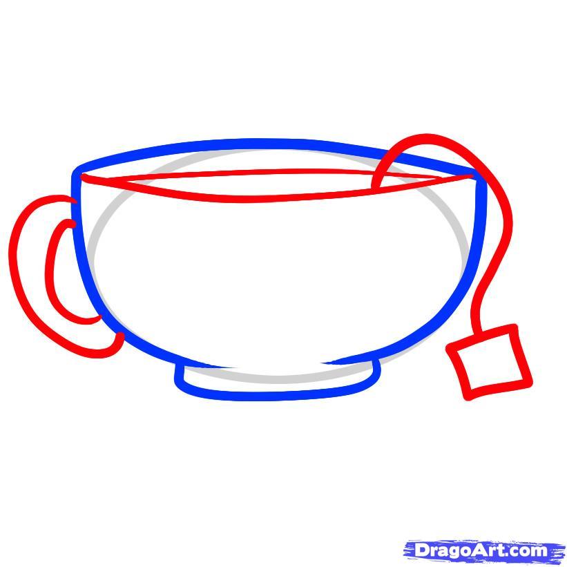 Рисуем чашку с чаем и блюдцем - шаг 3