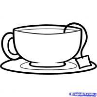 чашку с чаем карандашом
