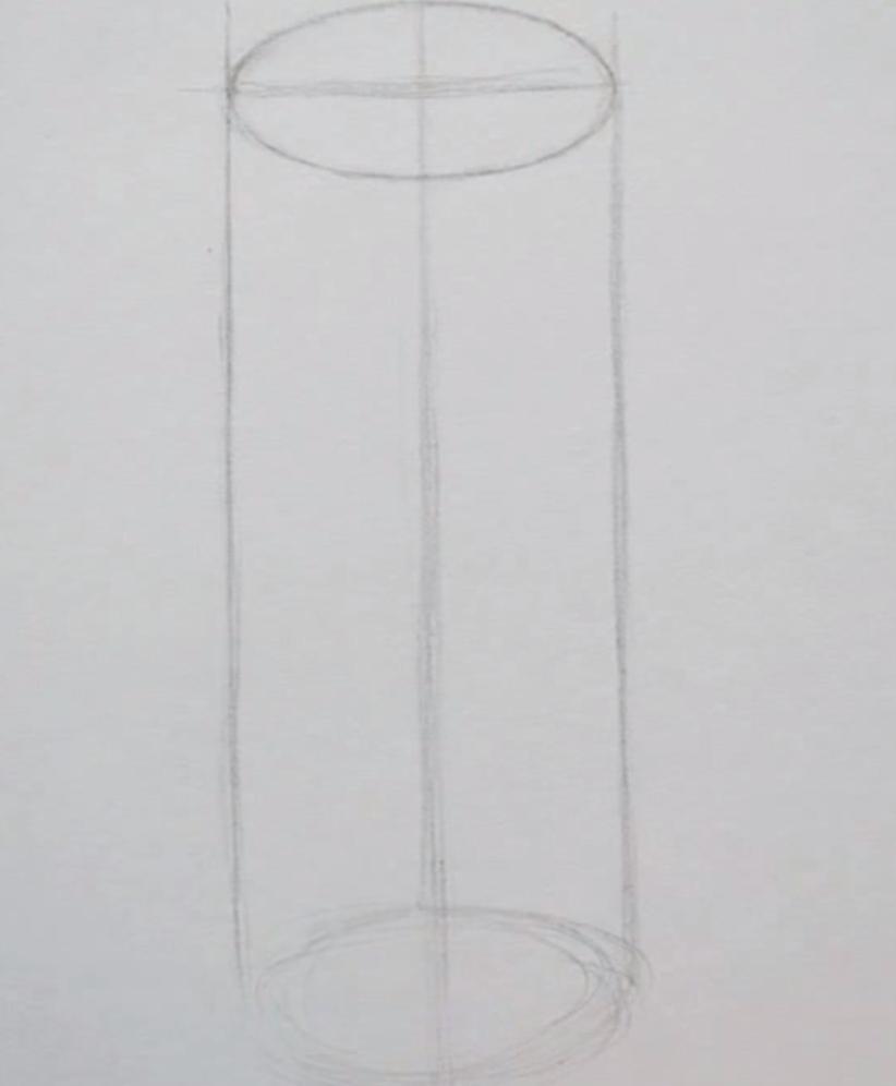 Рисуем цилиндр простым  на бумаге