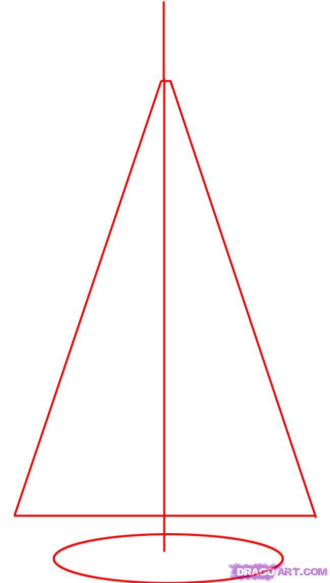 Рисуем новогоднюю елку - шаг 1