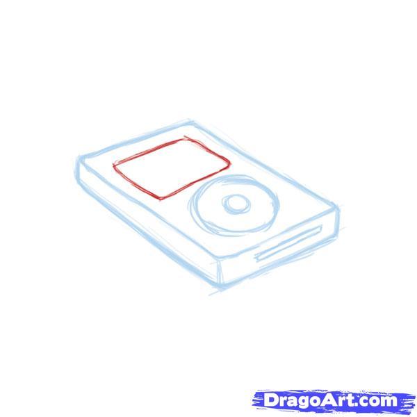 Как нарисовать iPod карандашом поэтапно