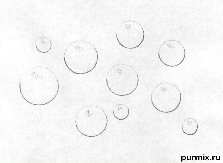 Как нарисовать капли простым карандашом поэтапно