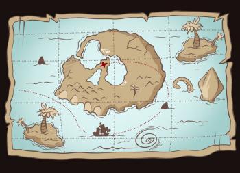 Как нарисовать Карту сокровищ карандашом поэтапно