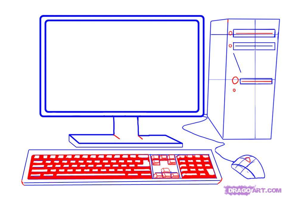 Как нарисовать компьютер (системный блок, монитор, мышь, клавиатуру) поэтапно