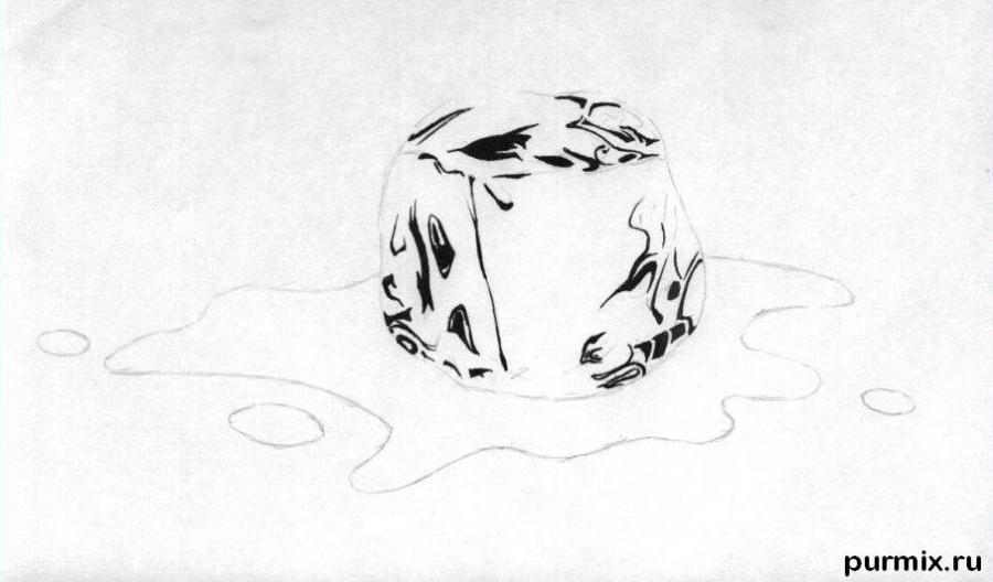 Рисуем кубик льда - шаг 2