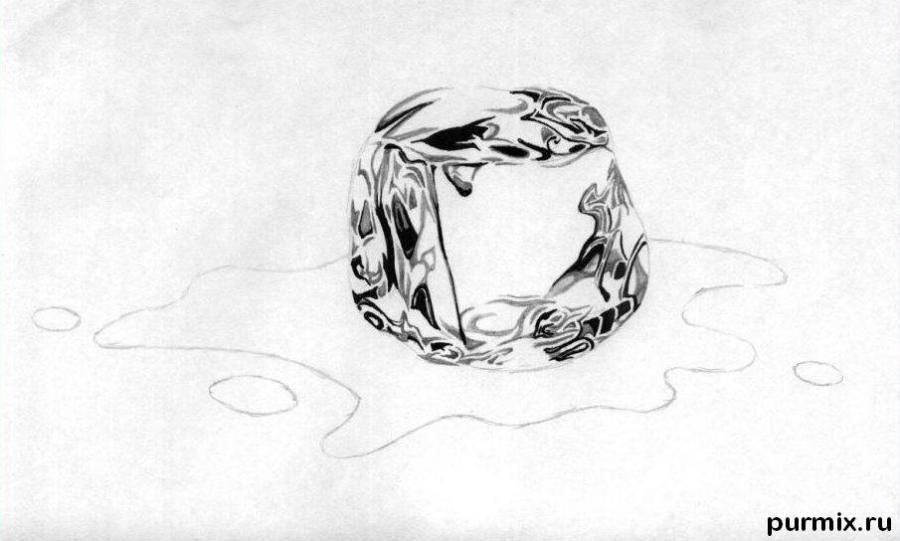 Рисуем кубик льда - шаг 3
